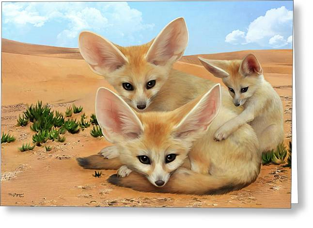 Greeting Card featuring the digital art Fennec Foxes by Thanh Thuy Nguyen