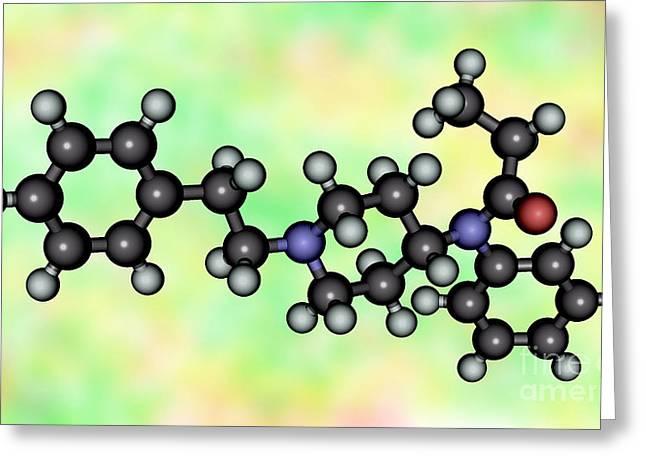 Fentanyl, Molecular Model Greeting Card by Scimat