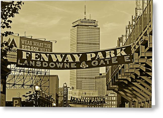 Fenway Park Banners Boston Ma Sepia Greeting Card by Toby McGuire