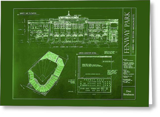 Fenway Park Blueprints Home Of Baseball Team Boston Red Sox Greeting Card