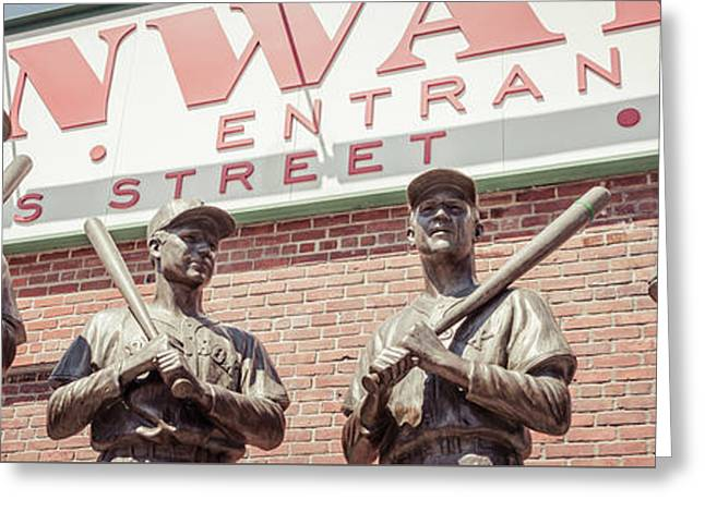 Fenway Park Bronze Statues Panorama Photo Greeting Card by Paul Velgos