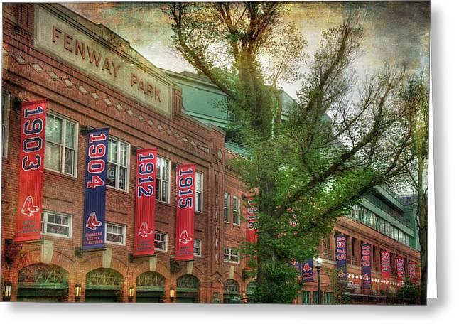 Fenway Park Championship Banners - Boston Art Greeting Card by Joann Vitali