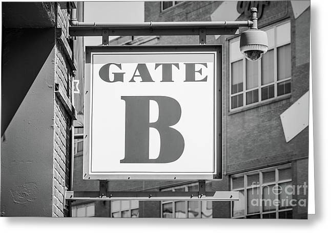 Fenway Park Gate B Sign Black And White Photo Greeting Card by Paul Velgos