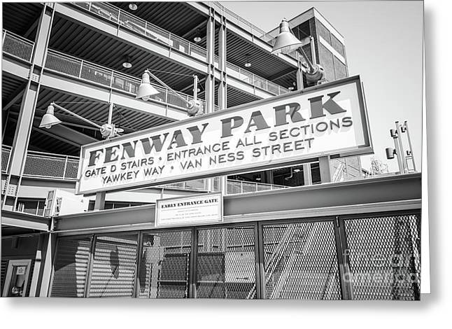 Fenway Park Gate D Black And White Photo Greeting Card by Paul Velgos