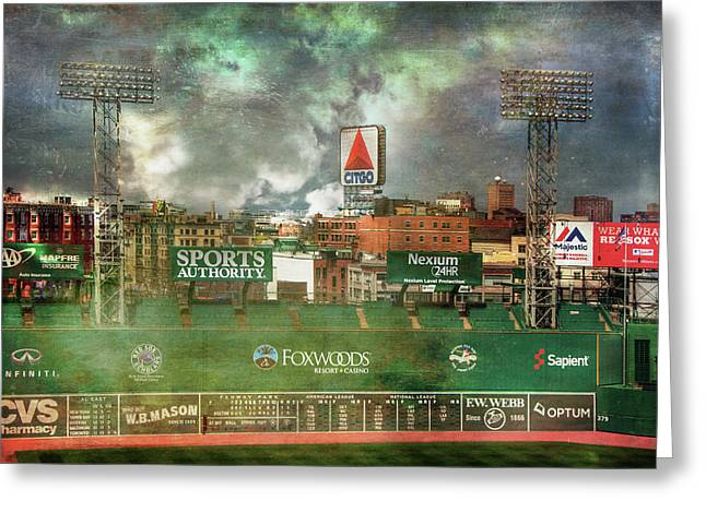 Greeting Card featuring the photograph Fenway Park Green Monster And Citgo Sign by Joann Vitali