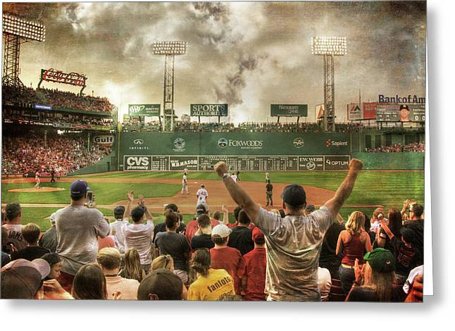 Greeting Card featuring the photograph Fenway Park Green Monster by Joann Vitali