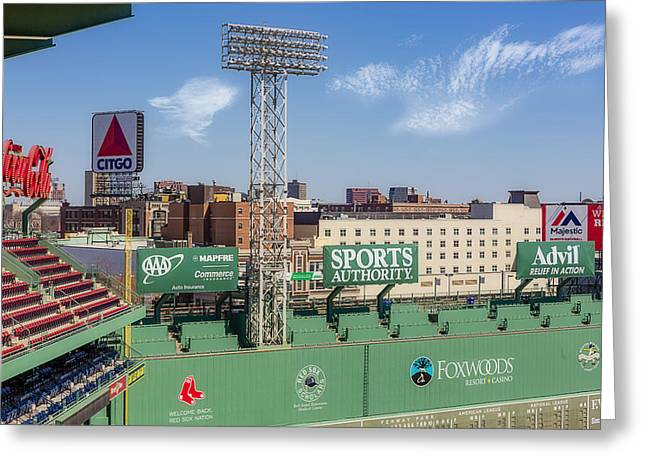 Fenway Park Green Monster Wall Greeting Card by Susan Candelario