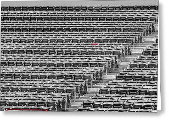 Fenway Park Red Chair Number 21 Bw Greeting Card by Susan Candelario