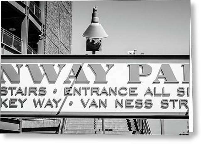 Fenway Park Sign Black And White Panoramic Photo Greeting Card by Paul Velgos