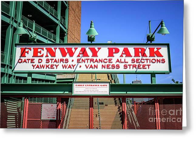 Fenway Park Sign Gate D Entrance Photo Greeting Card