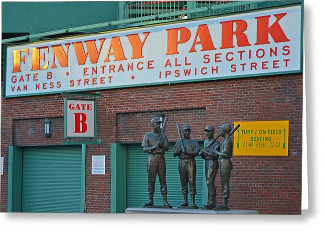 Fenway Park Statues Boston, Ma Greeting Card by Toby McGuire