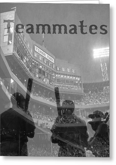 Fenway Park Teammates - Boston Greeting Card by Joann Vitali