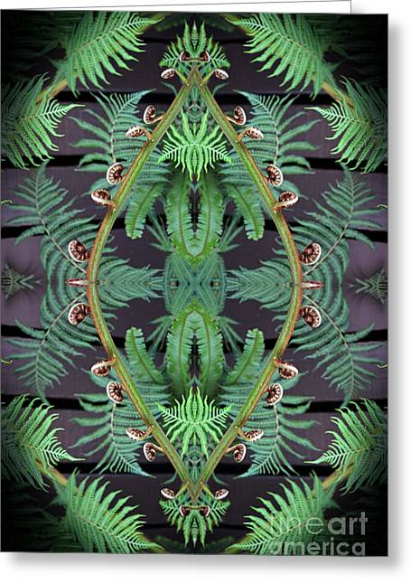 Fern Abstract Greeting Card by Jim Fitzpatrick