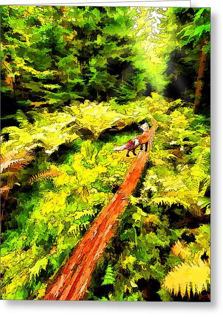 Greeting Card featuring the digital art Fern Forest Path In Autumn by ABeautifulSky Photography