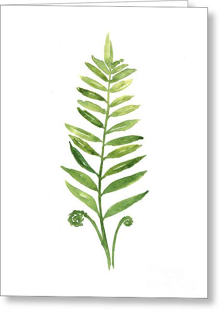 Fern Leaf Watercolor Painting Greeting Card