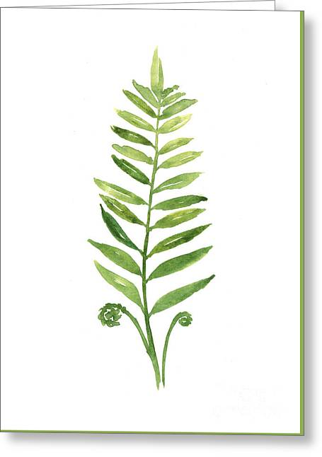 Fern Leaf Watercolor Painting Greeting Card by Joanna Szmerdt