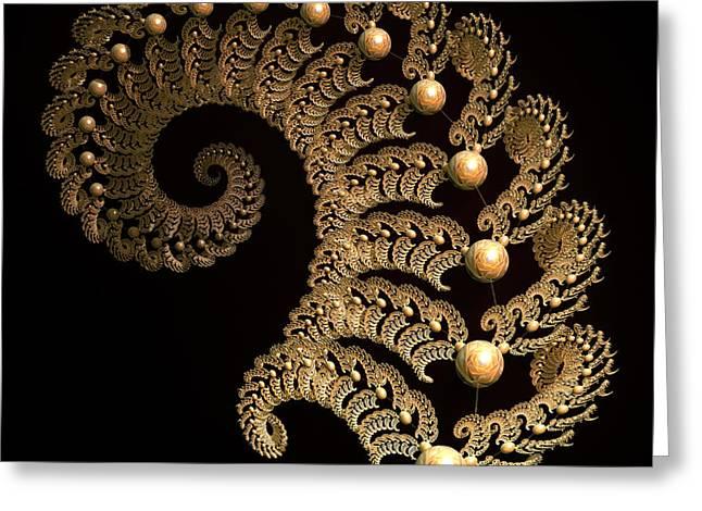 Fern-spiral-fern Greeting Card by Deborah Benoit