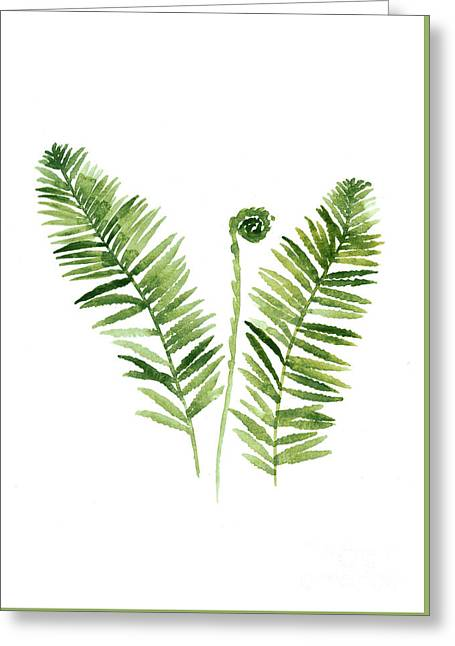 Fern Watercolor Painting Greeting Card by Joanna Szmerdt