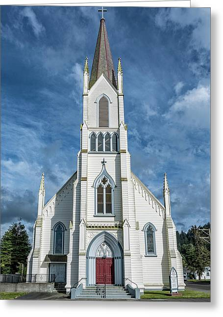 Ferndale Catholic Church Greeting Card by Greg Nyquist