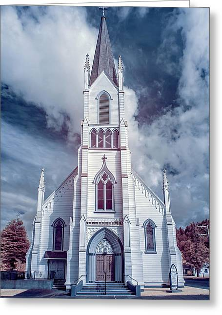 Greeting Card featuring the photograph Ferndale Church In Infrared by Greg Nyquist