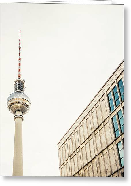 Fernsehturm And Building In Berlin Greeting Card by Pati Photography