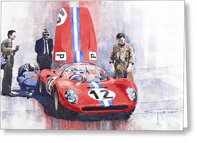 Dino Greeting Cards - Ferrari 206 SP Dino 1966 Nurburgring Pit Stop Greeting Card by Yuriy  Shevchuk