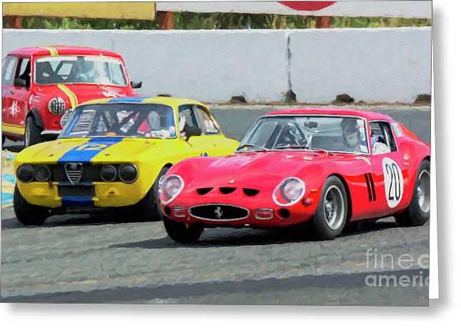 Ferrari 250 Gto And Alfa Gtv And Austin Mini At Sonoma Greeting Card