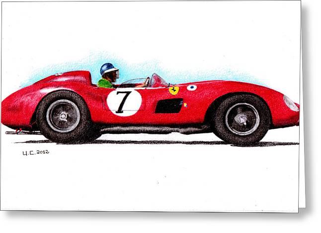 Ferrari 335s Mike Hawthorn 1957 Greeting Card by Ugo Capeto
