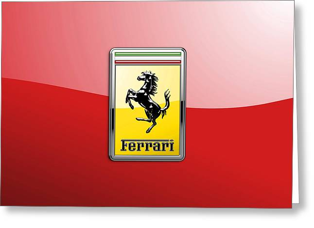 Ferrari 3d Badge-hood Ornament On Red Greeting Card by Serge Averbukh