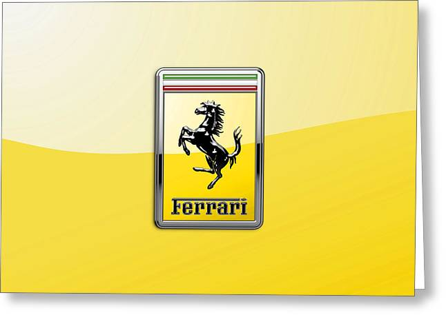 Ferrari 3d Badge- Hood Ornament On Yellow Greeting Card by Serge Averbukh