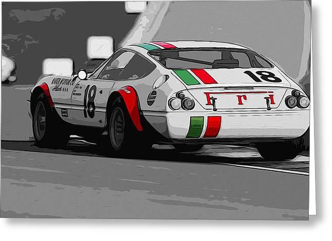 Ferrari Daytona 365 Gtb4 - Italian Flag Livery Greeting Card by Andrea Mazzocchetti