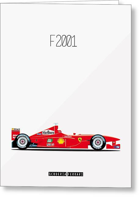 Ferrari F2001 F1 Poster Greeting Card by Beautify My Walls