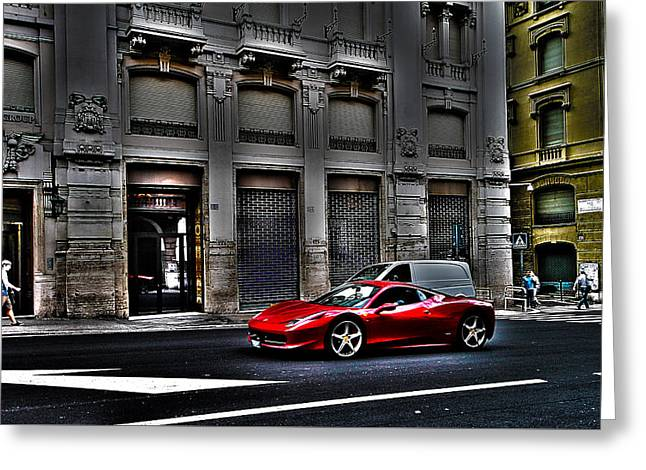 Ferrari In Rome Greeting Card by Effezetaphoto Fz