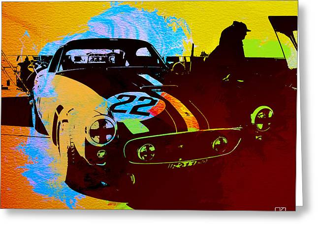 Car Shows Greeting Cards - Ferrari Watercolor Greeting Card by Naxart Studio