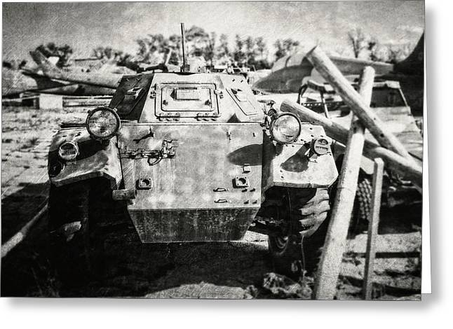Ferret Armored Car In Black And White Greeting Card