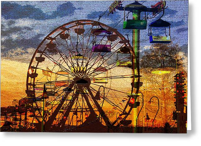 Greeting Card featuring the digital art Ferris At Dusk by David Lee Thompson