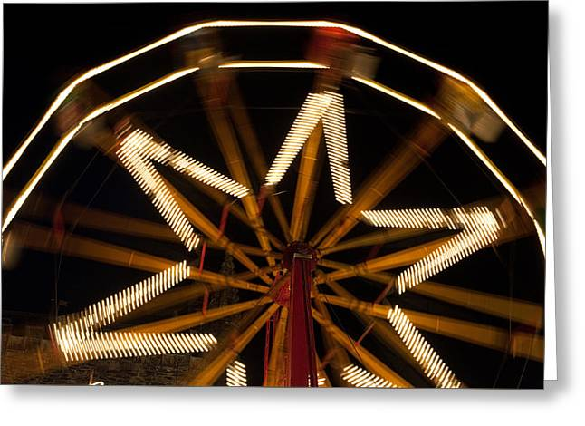 Ferris Wheel At Night Greeting Card by Helen Northcott