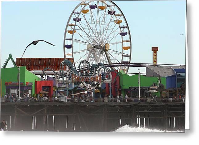 Ferris Wheel At Santa Monica Pier Greeting Card