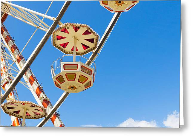 Ferris Wheel Cars In Toulouse Greeting Card by Semmick Photo