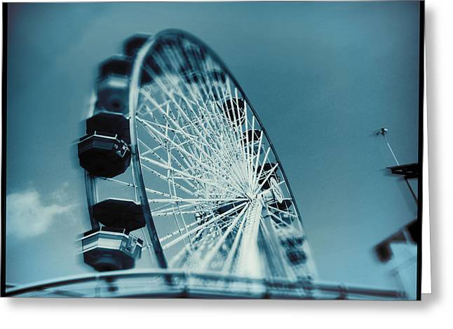 Greeting Card featuring the photograph Blue Ferris Wheel by Douglas MooreZart