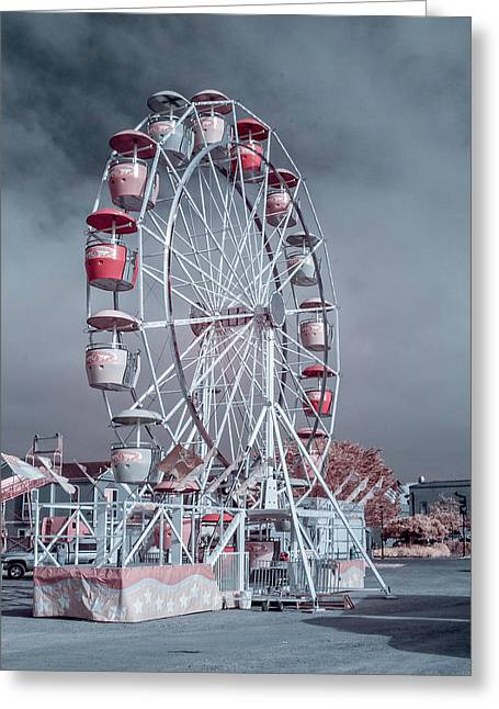 Ferris Wheel In Morning Greeting Card by Greg Nyquist