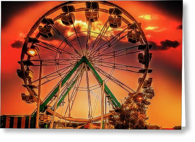 Greeting Card featuring the photograph Ferris Wheel Sunrise by Steve Benefiel