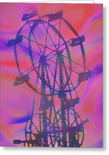 Ferris Wheel Swirly Colors Greeting Card