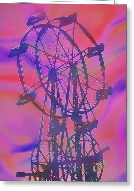 Ferris Wheel Swirly Colors Greeting Card by Dan Sproul