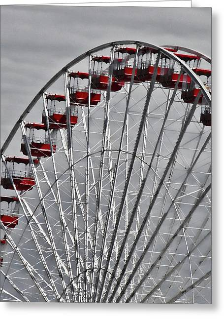 Ferris Wheel With Red Chairs Greeting Card by Tony Grider