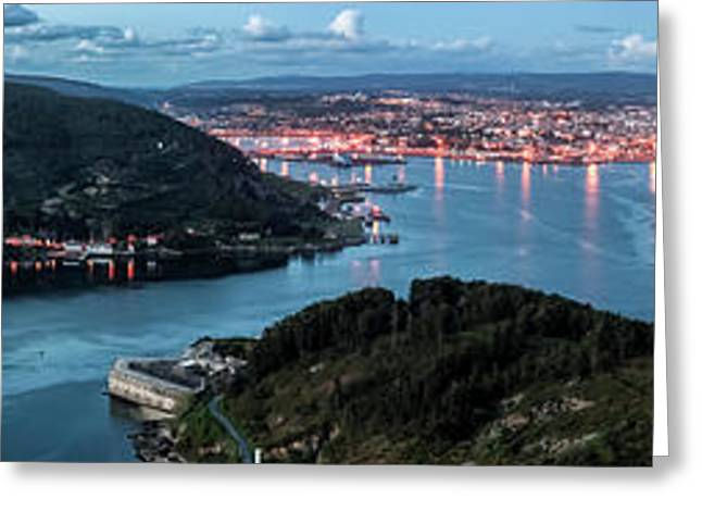 Ferrol's Estuary Panorama From La Bailadora Galicia Spain Greeting Card
