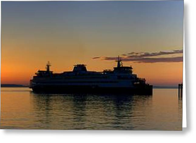 Ferry Boat Arrives To Mukilteo Ferry Terminal Greeting Card