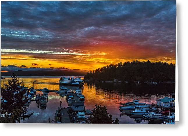 Ferry Boat Sunrise Greeting Card