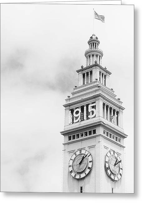 Ferry Building Clock Tower - San Francisco Greeting Card by Daniel Hagerman