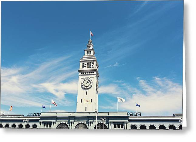 Greeting Card featuring the photograph Ferry Building San Francisco 1915 - California Photography by Melanie Alexandra Price